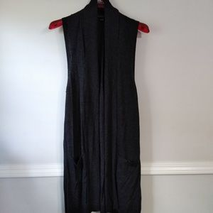 August silk long sleeveless cardigan.